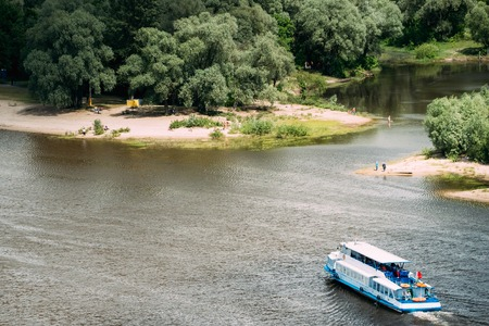 Gomel, Belarus. Top Aerial View Of Sozh River, Floating Tourist Boat Stock Photo