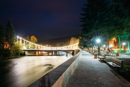 Borjomi, Samtskhe-Javakheti, Georgia. Night View Of Bridge Of Beauty Over Kura River Passing Through City.
