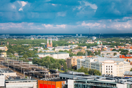 Riga, Latvia. Aerial Cityscape. Top View Of Landmarks - Riga Central Station, St. Francis Church,