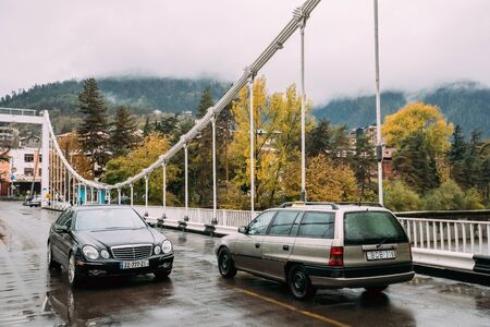 Borjomi, Samtskhe-Javakheti, Georgia. Traffic In Shota Rustaveli Editorial