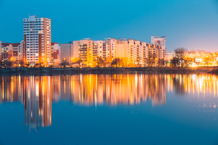 residential construction: Urban Residential Area Overlooks To City Lake Or River And Park Stock Photo