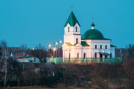Gomel, Belarus. Church Of St Nicholas The Wonderworker In Lighting Stock Photo
