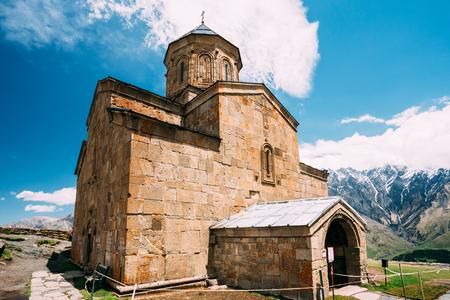 Gergeti Trinity Church Or Tsminda Sameba - Holy Trinity Church Near Village Of Gergeti In Georgia.