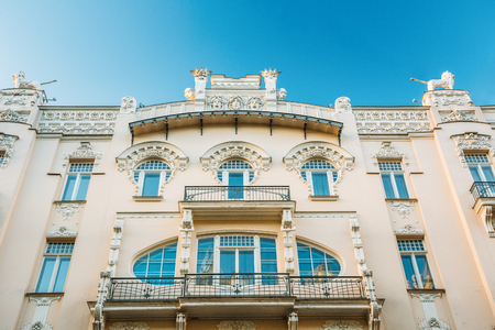 Riga, Latvia. Facade Of Old Art Nouveau Building designed by Mikhail Eisenstein on 4 Alberta Street. Stock Photo