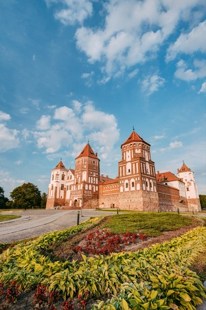 Mir, Belarus. Mir Castle Complex In Sunny Summer Day. Architectural Ensemble Of Feudalism