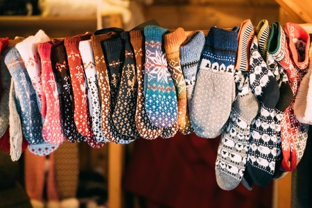 Knitted Traditional European Warm Clothes - Mittens At Winter Christmas Market.
