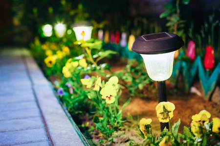 Solar Garden Light, Lanterns In Flower Bed. Garden Solar Powered Stock Photo