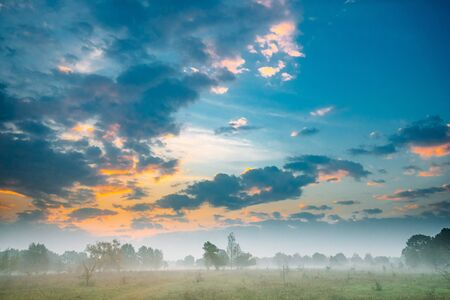 Misty Forest Landscape. Scenic View. Morning Sunrise Sky Over Misty Meadow. Autumn Stock Photo