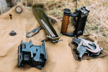 pm: Parts Of Disassembled Maxims Machine Gun Model 1910 30. Pm M191 Stock Photo