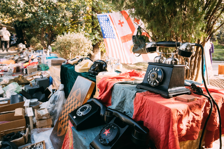 Tbilisi, Georgia. Shop Flea Market Of Antiques Old Retro Vintage Stok Fotoğraf - 84316344