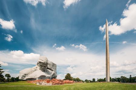 Brest, Belarus. Main Monument And Memorial Monument Bayonet - Obelisk In Brest Hero Fortress In Sunny Summer Day.
