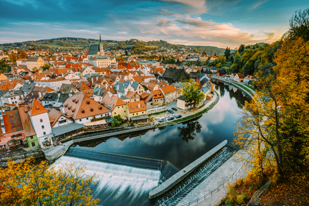 Cityscape Of Cesky Krumlov, Czech Republic. Autumn Evening At Sunset Фото со стока