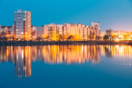 Urban Residential Area Overlooks To City Lake Or River And Park Stock Photo