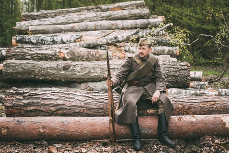Re-enactor Dressed As Russian Soviet Infantry Red Army Soldier O