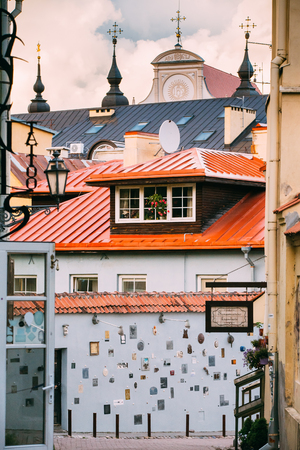 Literatu Street in Old Town of Vilnius, Lithuania. Wall c litera Publikacyjne