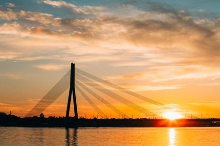 Riga, Latvia. Vansu Cable-Stayed Bridge Over The Daugava River, Stock Photo