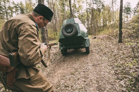 Re-enactor Dressed As Soviet Russian Red Army Infantry Soldier Of World War II Editorial
