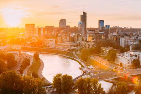 Vilnius, Lithuania. Sunset Sunrise Dawn Over Cityscape In Evening