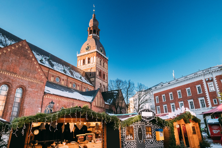 Christmas Market On The Dome Square With Riga Dome Cathedral In Stock Photo