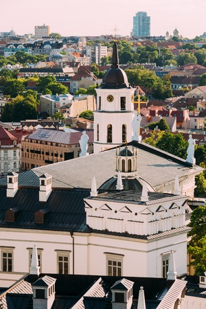 Vilnius, Lithuania. View Of Bell Tower Chapel, Angels On Roof Of Stock Photo