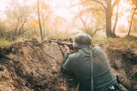 Re-enactor Dressed As German Wehrmacht Infantry Soldier In World