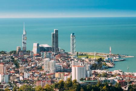 Batumi, Adjara, Georgia. Aerial View Of Urban Cityscape At Sunset