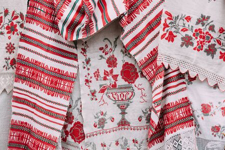 Belorussian Ethnic National Folks Ornament On Clothes. Slavic Traditional Pattern Ornament Embroidery