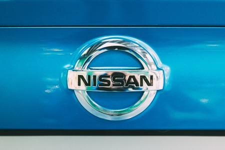 Close View Of Metal Logo Of Nissan Qashqai Car