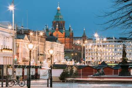 Helsinki, Finland. Uspenski Cathedral In Evening Or Night Illuminations