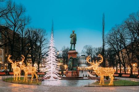 Helsinki, Finland. Statue Of Johan Ludvig Runeberg On Esplanadi Park