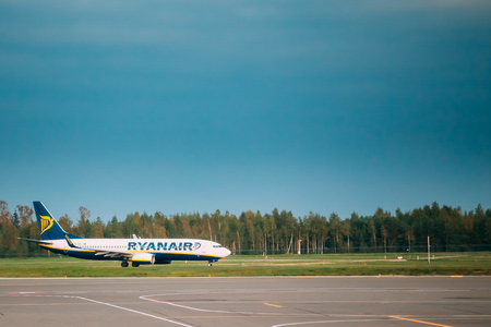 Vilnius, Lithuania - September 30, 2017: View Of Plane Of Irish Low-cost Airline Ryanair At Vilnius Airport