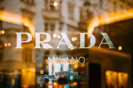 Prague, Czech Republic - September 22, 2017: Close View Of Logo Logotype Sign Of Prada On Window Of Store.  Prada Is Italian Luxury Fashion House Founded In 1913 By Mario Prada.