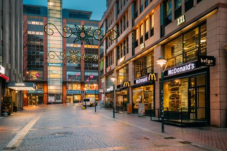 Helsinki, Finland - December 8, 2016: Mcdonalds Restaurant Cafe In Kluuvikatu Street. Mcdonalds Corporation Is The Worlds Largest Chain Of Hamburger Fast Food Restaurants