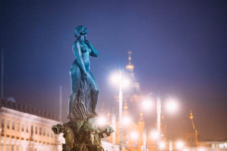 Helsinki, Finland. Night View Of Fountain Havis Amanda Is Nude Female Statue Sculpted By Ville Vallgren. Statue Symbolize Rebirth
