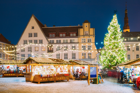 Tallinn, Estonia. Traditional Christmas Market On Town Hall Square