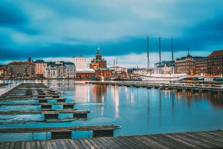 Helsinki, Finland. View Of Evening City And Uspenski Cathedral