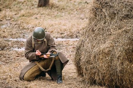 Re-enactor Dressed As Russian Soviet Infantry Soldier Of World War II Stock Photo