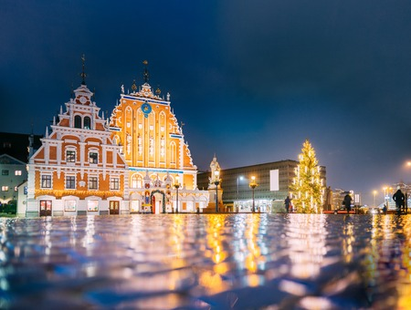 Riga, Latvia. Town Hall Square, Popular Place With Famous Landmark