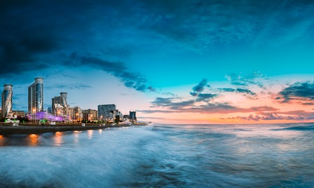 Batumi, Adjara, Georgia. Panorama Of Illuminated Resort Town At Sunset