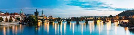 Night panorama scene with Charles Bridge in Prague, Czech Republic