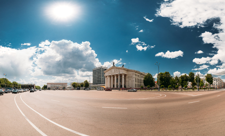 Gomel, Belarus. Building Of Gomel Regional Drama Theatre On Lenin Square. Panorama In Sunny Summer Day.