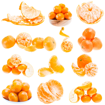 Set Or Collage Of Many Mandarin Orange Fruits Isolated On White Background. Healthy Food. Mandarins Contain A High Content Of Vitamin C.