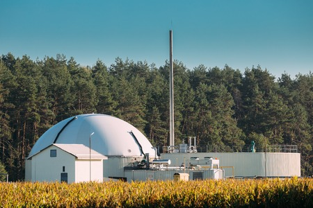 Biogas Plant Or Bioreactor For Fermentation Of Chicken Manure 스톡 콘텐츠