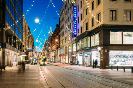 Helsinki, Finland. Tram Departs From Stop On Aleksanterinkatu Street
