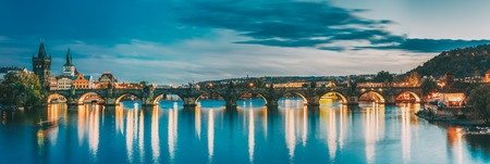 Prague, Czech Republic. Evening Panoramic View Of Evening Cityscape