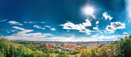 Vilnius, Lithuania. Panoramic View Of Old Town Historic Center Cityscape Stock Photo