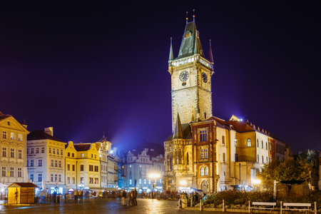 Prague, Czech Republic. Night View Of The Old Town Hall In The Old Town Stock Photo