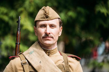 Gomel, Belarus. Close up portrait of unidentified re-enactor dre