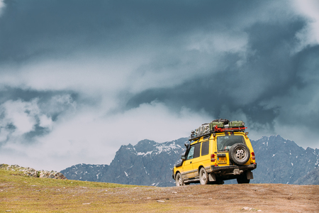 Land Rover Discovery Suv Car On Off Road In Spring Mountains Lan