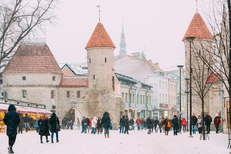 Tallinn, Estonia. People Walking Near Christmas Xmas Market On B